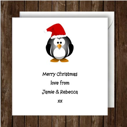 Personalised Christmas Card Penguin With Red Hat